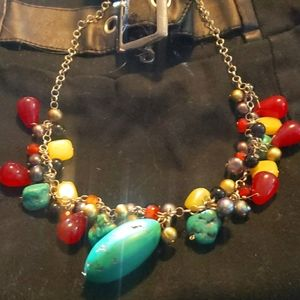 925 necklace  turquoise, b pearls, red coral,onyx,
